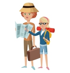 Two woman tourist traveler with suitcase map hat vector