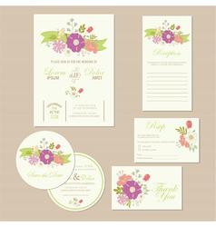 wedding set with ribbon vector image vector image