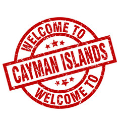 Welcome to cayman islands red stamp vector