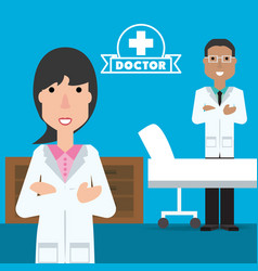 Woman and man doctor with stretcher and desk vector