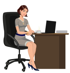Woman behind a desk with a laptop vector