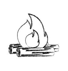 wood fire vector image