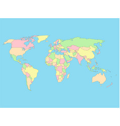 world map in four colors on blue background vector image