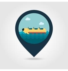 Yellow banana boat ride pin map icon Vacation vector image vector image