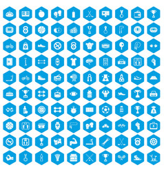 100 boxing icons set blue vector image vector image