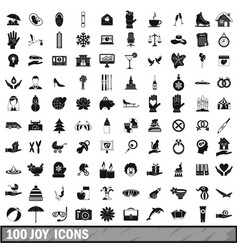 100 joy icons set simple style vector