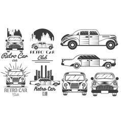 set of retro car club logos banners vector image