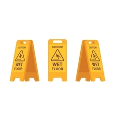 Set of wet floor sign vector