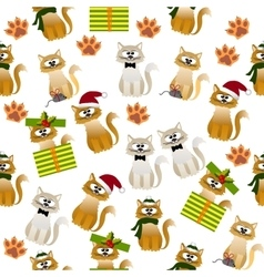 Pattern with cute cats vector