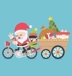 Christmas santa claus driving a bike have elves vector