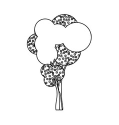 Silhouette little leafy tree with pixels square vector