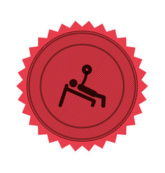 Pink circular seal of man with training vector