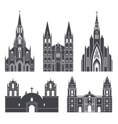 south america american buildings on white vector image