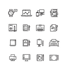 Creative science writing tools line icons set vector