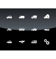 Cars and transport icons on black background vector