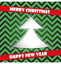 Happy new year card with christmas tree vector