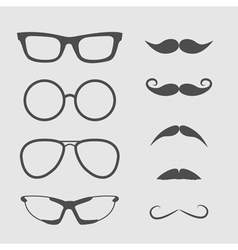 Glasses and mustache set Isolated Icons vector image