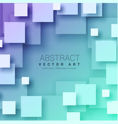 3d abstract squares background in blue color vector