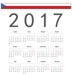 Square czech 2017 year calendar vector