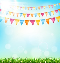 Celebration background with buntings grass and vector