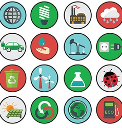 Green eco icons ecology vector