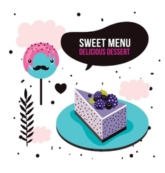 Sweet menu delicious dessert blackberry cake vector
