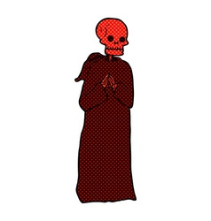 Comic cartoon spooky skeleton in robe vector