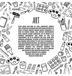 Artist tools sketch hand drawn frame vector
