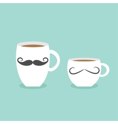Coffee cup mug moustaches and lips blue background vector