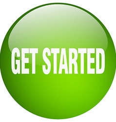 Get started green round gel isolated push button vector
