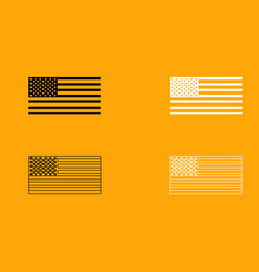 American flag set black and white icon vector