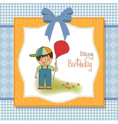 Birthday greeting card with little boy vector