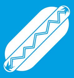 Bun and sausage icon white vector