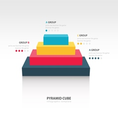 Business infographics pyramid cube 4 color vector