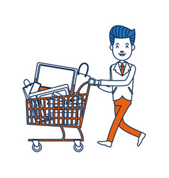 Businessman character push shopping cart full vector