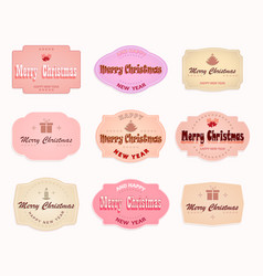 christmas emblem of pink shades set vector image vector image