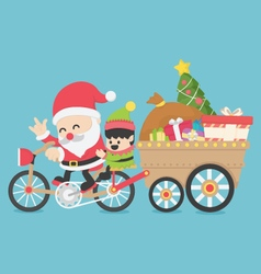 Christmas santa claus driving a bike have elves vector