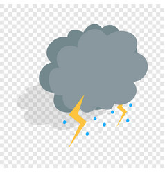 cloud lightning and hail isometric icon vector image