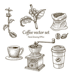 coffee set hand drawing vintage style vector image