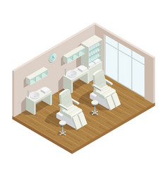 Cosmetology studio isometric interior vector
