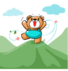 cute happy bear stand on the mountain xa vector image vector image