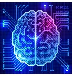 Cyber brain vector
