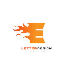 e letter flame logo design fire logo lettering vector image
