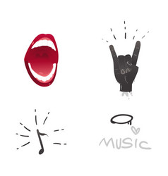 Flat music symbol rock gesture mouth note vector