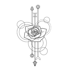 Floral geometric tattoo vector image vector image