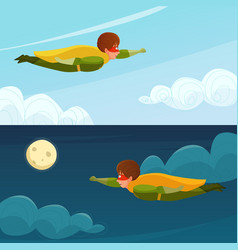 Flying boy superhero horizontal banners vector