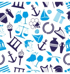 Greece country theme symbols seamless blue pattern vector