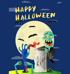 happy halloween poster with zombie in cemetery vector image