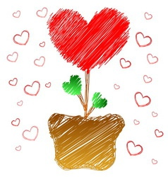 Heart tree in doodle style vector image vector image