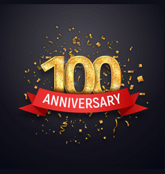 Hundred years anniversary logo template 100 th vector